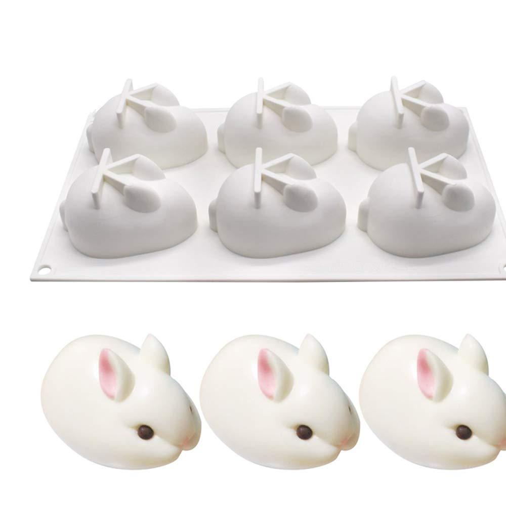6 hoyos del conejo de Pascua molde de pastel de silicona ...