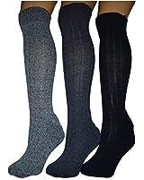 3 pairs mens wool blend long boot socks.padded sole.