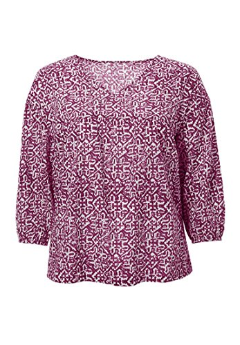 Ellos Women's Plus Size Relaxed Shirred Peasant Blouse Ruby Berry - Ruby Tunic Print