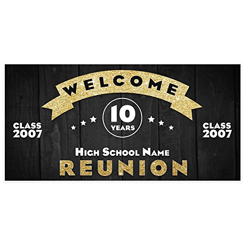 School Class Reunion Gold Party Banner Decoration Backdrop (any year) -
