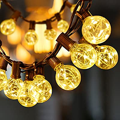 Sunnest 13FT G40 Globe String Lights, 25 LEDs G40 Bulb with 8 Light Beads, UL Listed Adapter Backyard Patio Lights, Hanging Indoor/Outdoor String Lights for Porch/Tents/Party Decor/Cafe/Gazebo - Extra-long globe string light (13ft/4m) can be coiled around the tree or hung on the wall in any shape; 0.3ft long between each bulb. 25 G40 clear light bulbs, DC adapter with 4ft lead wire, E12 lamp base; 3W rated power, low consumption and more energy saving, safe to touch. Each bulb contains a copper wire with 8 LED beads, brighter compared to other conventional light bulb. - patio, outdoor-lights, outdoor-decor - 51cOoBCZ8RL. SS400  -
