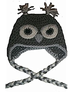 Handmade Gray Owl Beanie / Hat Size 3-6 Months