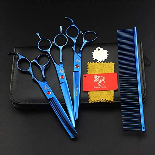 bluee PK703 MT Products Professional 7.0 Inch Pet Scissors Dog Grooming Kits Pet Shears Dog Hair Cutter Straight &Thinning & Curved Scissors gold Pk704