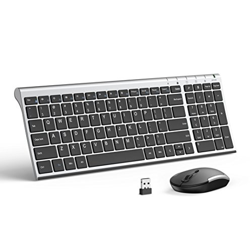 Wireless Keyboard Mouse, Jelly Comb 2.4GHz Ultra Slim Compact Full Size Rechargeable Wireless Keyboard and Mouse Combo for Laptop, Notebook, PC, Desktop, Computer, Windows OS - Black and Silver
