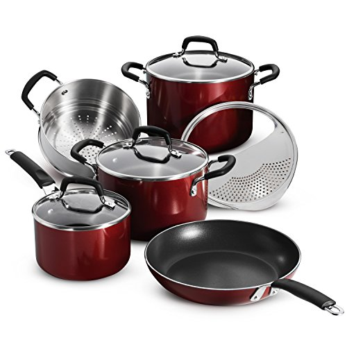 Tramontina 80151/565DS Porcelain Enamel Heavy-Gauge Aluminum Nonstick Cookware Set, 9-Piece , Made in USA, Red Rhubarb