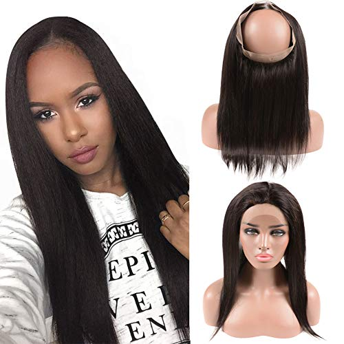 Straight Brazilian Closure 360 Frontal Only 7A Grade Free Part Lace Closure with Elastics Bleached Knots 22x4x2 Lace Adjustable 16 Inches 1 Piece a Pack (Adjustable Closure Knot)