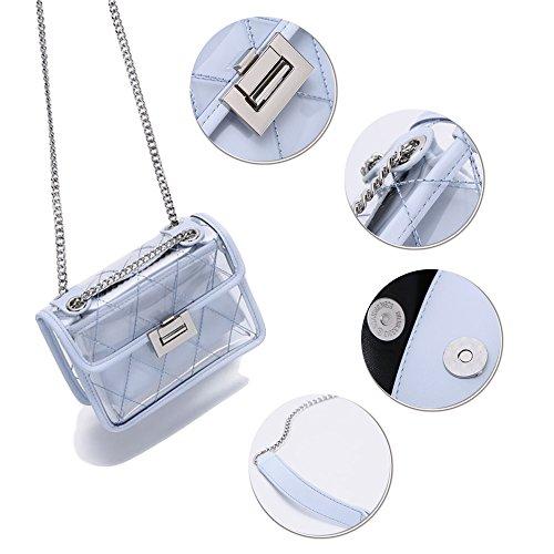 Catena A Impermeabile Donne Mini Metallo Borse Gelatina Tracolla Merryhe Blu Pvc Micro axwzOqtn1S