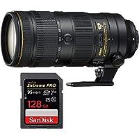 Nikon AF-S NIKKOR 70-200mm f/2.8E FL ED VR Zoom Lens (20063) with Sandisk Extreme PRO SDXC 128GB UHS-1 Memory Card