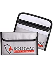 Small Fireproof Bag (5 x 8 inches), Non-Itchy Fireproof Money Bag, Fireproof Wallet Bag, Cash Fireproof Bag Set for Valuables - Passport, Currency & Keys