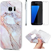 ZSTVIVA S7 Case, Galaxy S7 Case, Matting Marble Series Soft Flexible TPU Rubber Cover IMD Design Slim Fit Anti-Scratch Protective Bumper for Samsung Galaxy S7 with Screen Protector Pen Purple Gray