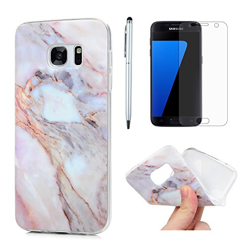 S7 Case, Galaxy S7 Case, Matting Marble Series Soft Flexible TPU Rubber Cover IMD Design Slim Fit Anti-Scratch Protective Bumper for Samsung Galaxy S7 with Screen Protector Pen ZSTVIVA - Purple Gray -