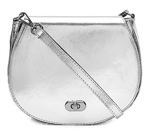 Jinne Postman's Bag Italian Lock Di 100 Leather Metallic Crossbody Silver Women's Montte Shoulder Genuine with Pw5gx4zzq