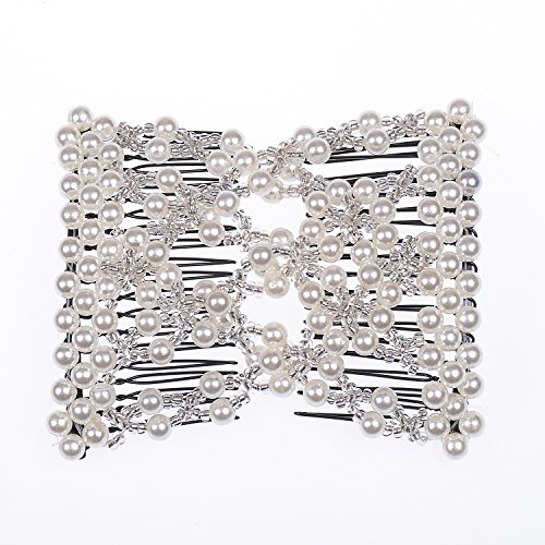 Lovef 6 Colors Easy Stretch Hair Comb Magic Hand-Beaded Hair Styling Combs Clips for Lady (White) from Lovef Jewelry