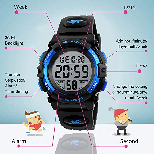 Mico Boys Digital Watch for Teen Boys, Girl Watch Toys for 6-13 Year Old Boy Girls Gift for Teen Boys Age 9-15 Present Waterproof Led Watches (A-blue) by Mico (Image #5)