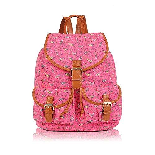 New Birds Printing Canvas Backpack School Bag Girls Backpack School And Fuchsia Shoulder Travel Bag