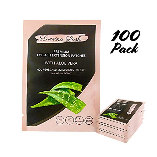 Under Eye Gel Pads (100 Pairs) - Ultra Thin Under Eye Pads for Eyelash Extensions | Easy to Apply Reposition & Remove | Aloe Infused Formula for Skin Hydration | DIY Tape False Lash Extension Supplies