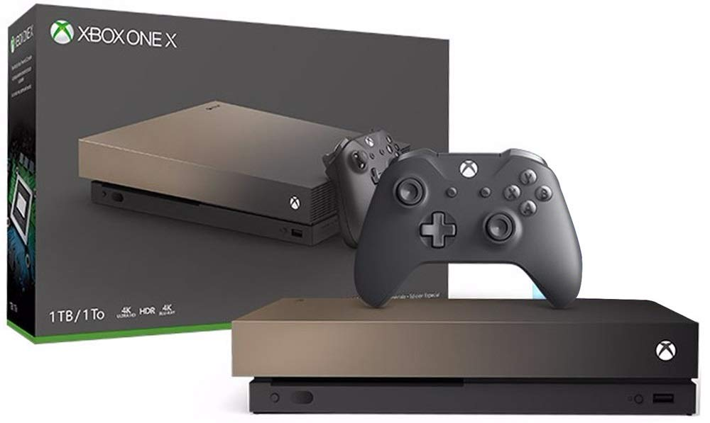 Microsoft Xbox One X Gold Rush Limited Edition 1TB Console with Wireless Controller - Xbox One X Enhanced, Native 4K Gaming, Ultra HDR