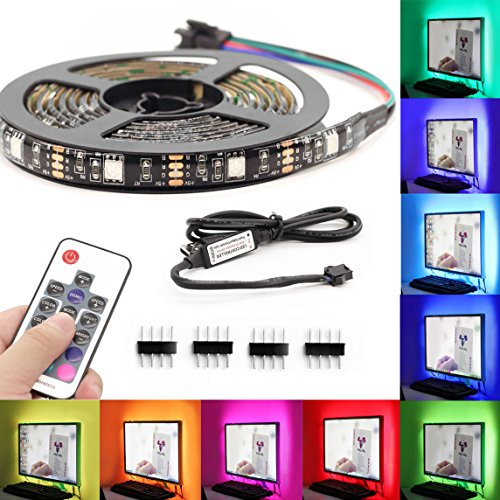 TV Colorful Backlight,USB LED Lighting Strip for Bias Lighting HDTV,Flexible Neon LED Lights 6.5ft/2M with Remote Control Decorate for Desktop PC,Tender Light Background Lighting Kit