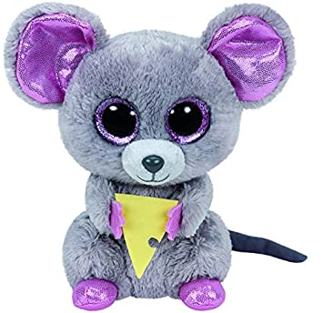 TY - Beanie Boos Squeaker, peluche ratón con queso, 15 cm (United Labels