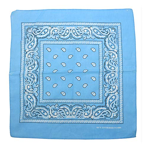 Charlotte 12Pcs Bandanas 100% Cotton Paisley Print Head Wrap Wristband (Skyblue)