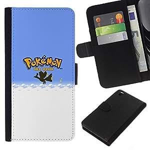 LECELL--Cuero de la tarjeta la carpeta del tirón Smartphone Slots Protección Holder For HTC DESIRE 816 -- Empuje Monster --
