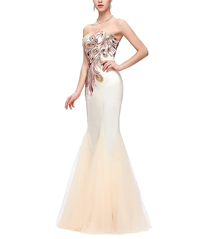 Amazon.com: Quintion Norris Prom Dresses Long 2018 Sweetheart Peacock Embroidery Evening Gown: Clothing