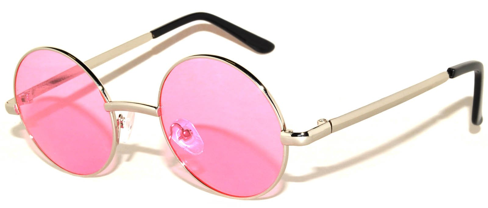 Round Retro Vintage Circle Tint Sunglasses Metal Silver Frame Pink Lens 43mm