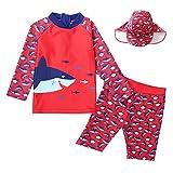 Boys Swimwear, Sun Protection UPF 50+ Rash Guard Set -Kids Swimsuit Shirt Trunk Set with Drawstring Stretchy Material -True Size- 1-20Years