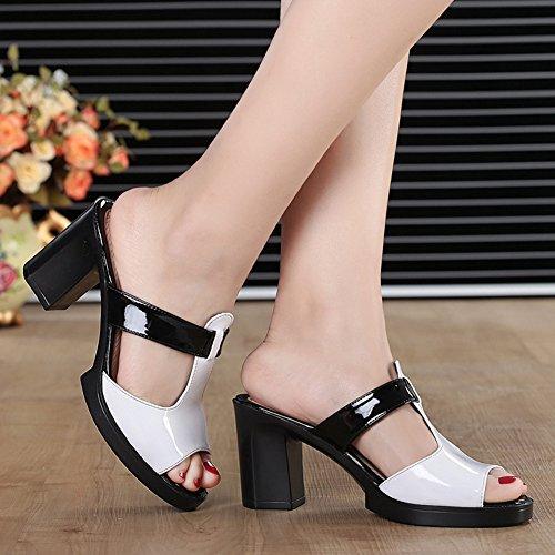 Sandales De Mode Btrada Pour Femmes-anti-dérapant Diapositives-été Sandale À Talons Hauts Blanc