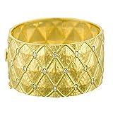 0.60 Ct Diamonds 18k Yellow Gold 20.7mm Pattered Hammered Finish Bangle Bracelet