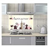 Joycentre Removable Kitchen Oil Proof Decal Sticker Heat-resistant Waterproof Tile Sticker Aluminium Foil Decals Dining Room Decor (Glass & Tableware)