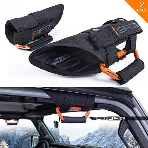 GPCA GP-Grip PRO Grab Handle for Jeep Wrangler JL JK Sport Sahara Freedom Rubicon Unlimited 4DR/ 2DR 2007-2019 w/ 3″ Padded roll bar. Universal to Front/Back (Pair – Grabber Orange)