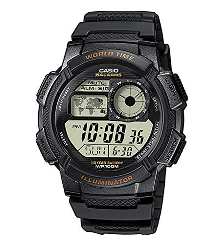 World Time 100m Watch - Casio Men's AE-1000W-1AVCF Resin Sport Watch with Black Band