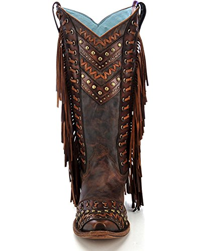 Corral Femmes Cloutés Frange Cowgirl Boot Snip Toe - C2986 Marron
