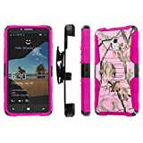 Alcatel One Touch Fierce XL Case, [NakedShield] [Black/ Hot Pink] Heavy Duty Holster Armor Tough Case - [Pink Hunter Camouflage] for Alcatel One Touch Fierce XL