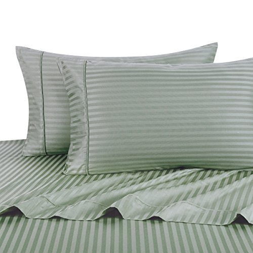 (Exquisitely Lavish Sateen Stripe Weave Bedding by Pure Linens, 600 Thread Count 100-Percent Plush Cotton, 4 Piece Olympic Queen Size Deep Pocket Hemmed Sheet Set, Sage)