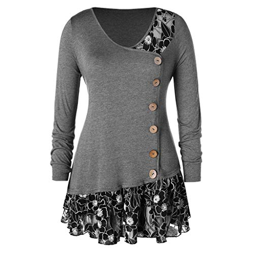 Women Blouse,LuluZanm Fashion Womens Plus Size Lace Flounced Buttons V-Neck Casual T-Shirt Tops Gray