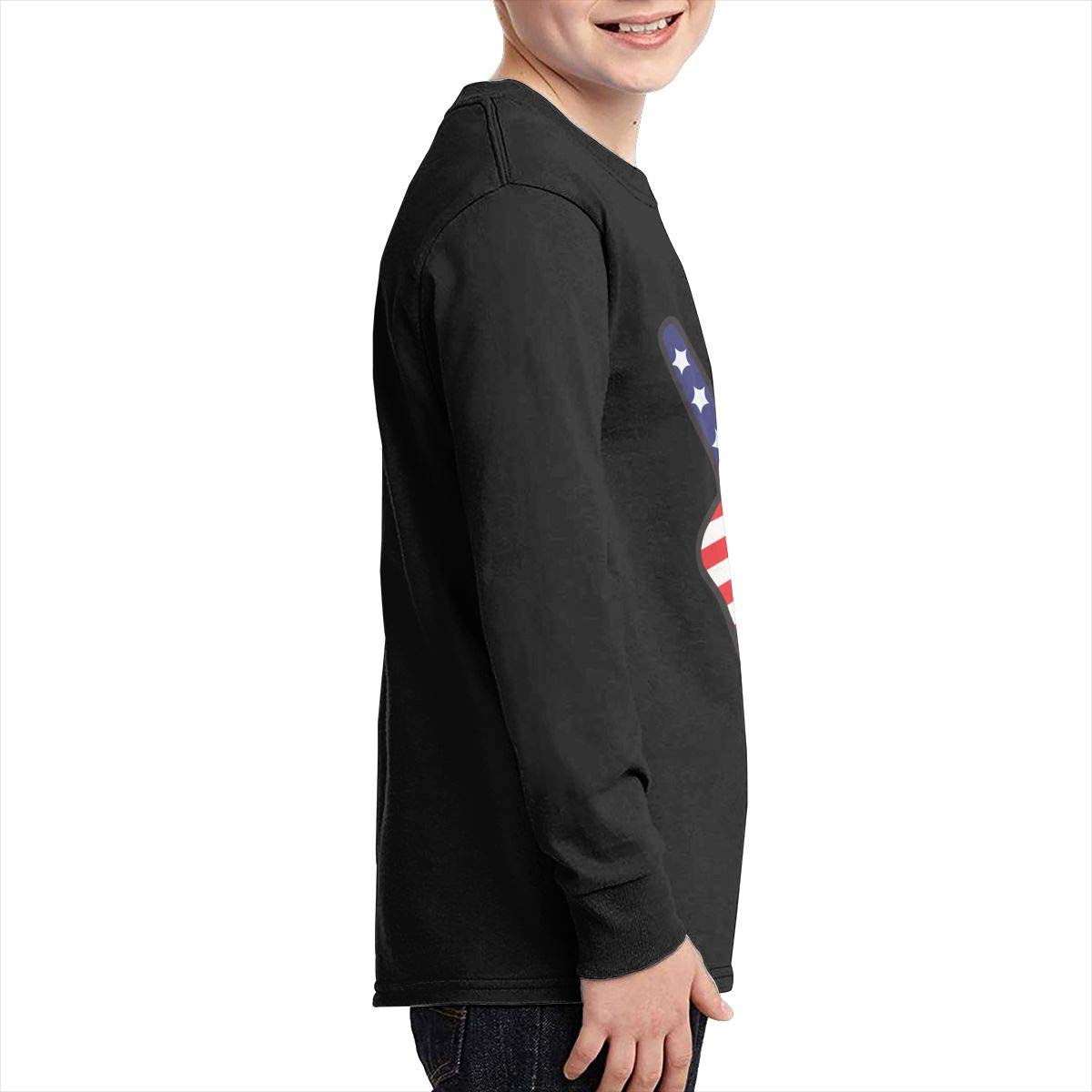 Teenagers Teen Boy Two Fingers Peace Sing Hand American Flag Printed Long Sleeve 100/% Cotton T-Shirts