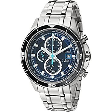 Citizen Men's  Quartz Stainless Steel and Titanium Casual Watch, Silver-Toned (CA0349-51L)