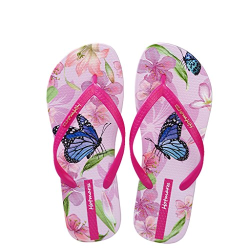 Hotmarzz Women's Butterfly Floral Flat Slippers Fashion Beach Sandals Flip Flops Size 7 B(M) US/38 EU/39 CN, Rose Red