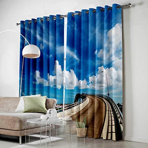 KAROLA Window Curtain 2 Panels Set Drapes Grommets Window Treatment Pair for Living, Dining Room, Bedroom - Bridge Street Lamp Blue Sky White Clouds Beautiful Town Scenery of Omaha,52