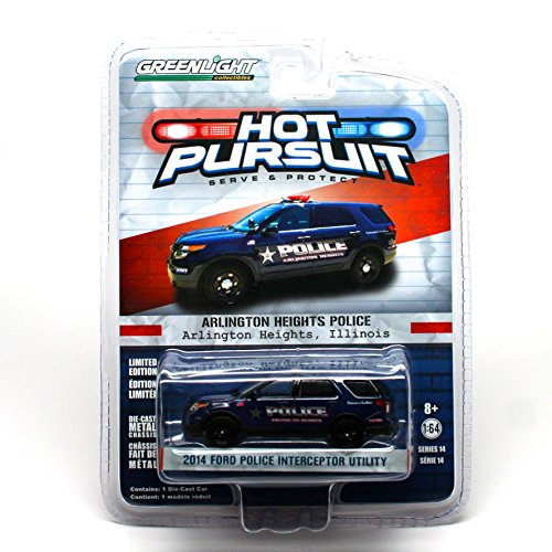 2104 FORD POLICE INTERCEPTOR UTILITY * Arlington Heights, Illinois * 2014 Hot Pursuit (Series 14) 1:64 Scale Limited Edition Die-Cast (Arlington Heights City)