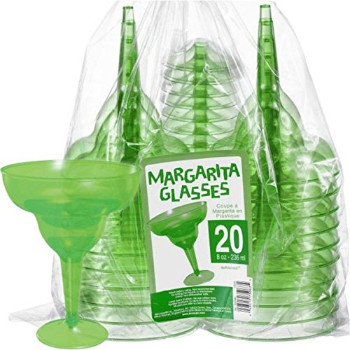 Amscan Hawaiian Summer Luau Transparent Margarita Glass (20 Piece), Green, 4.6 x 11.3