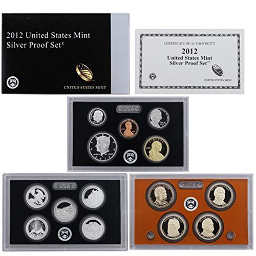 2012 U.S. Mint 14-coin Silver Proof Set - OGP box & COA Set Proof (Certificate Dollar Silver Five)