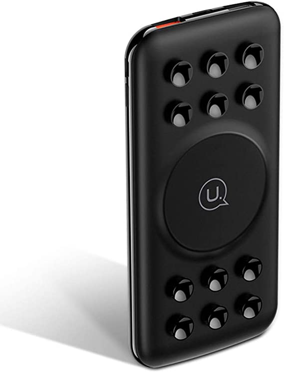 Black QC 3.0 Smartphone XUNMAIF ELE Fast Wireless Power Bank 4 Output and Suction Cup Compatible Qi Enabled Smartphones Support 18W PD 10000mAh Quick Charger External Battery Pack with Dual Input