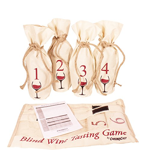 Blind Wine Tasting Game Includes: Six Individually Numbered Bags, Storage Pouch & Pad Of Scoring Notes - All you need is wine! by ChromaCast