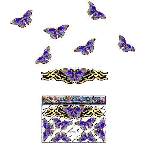 Papillon or chrome look Petite autocollant pour Auto Caravanes Camions et bateaux ST00021GD_SML - JAS Stickers