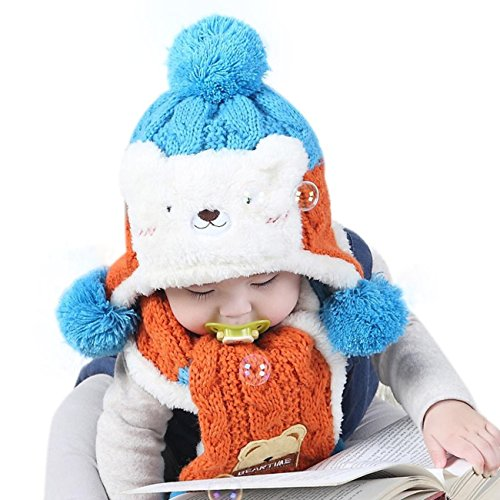 Winter Wool Knitted Earflap Hat Scarf Hood Scarves Baby Girls Cowl Beanie Caps (Sky blue) ()