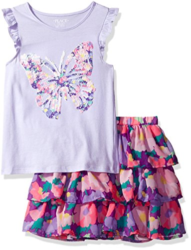 The Children's Place Big Girls' Top and Skirt Set, Purple Ribbon/Very Violet 82838, M (7/8)