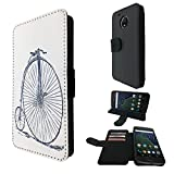 """001758 - Penny Farthing Vintage Bicycle Motorola Moto G5 Plus 5.2"""" Credit Card Flip Case Purse pouch Stand Cover"""
